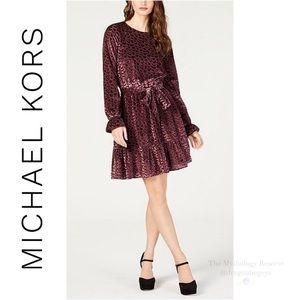 Michael Kors Velvet Smocked-Cuff Dress